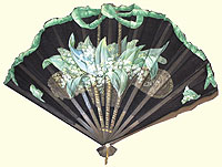 Early 20th century fan with green bow border and Lily-of-the-Valley in a basket. Private collection.