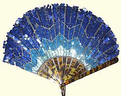 Blue Art Deco sequined fan