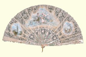 Duchesse and point de Gaze lace fan from the Oldham Collection at the Museum of Fine Arts, Boston. MFA Accession Number 1976.540.