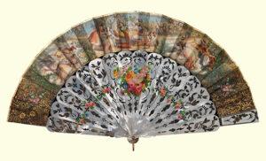Circa 1850s European fan with Orientalist scene. MET Accession No. 2009.300.1821. CC0 1.0 Public Domain.